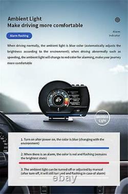 12V Car Head Up Display On-board Computer OBD2+GPS HUD Gauge Digital Speedometer