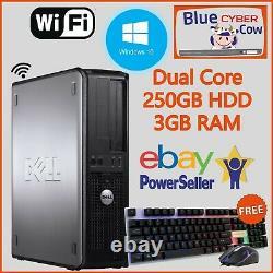 CHEAP FAST WINDOWS 10 DELL HP DESKTOP PC COMPUTER 3GB RAM 250GB HDD WiFi