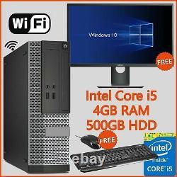 Cheap Fast Windows 10 Dell PC Computer Bundle Intel i5 PC 4GB RAM 500GB HDD WiFi
