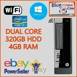 Cheap Fast Windows 10 HP INTEL i3 SFF DESKTOP PC Computer 4GB RAM 320GB HDD WiFi