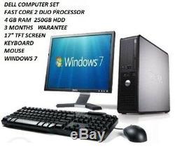 Cheap PC Windows 7 Dell Computer Set Desktop/Tower 4GB RAM 250GB HDD WiFi 17TFT