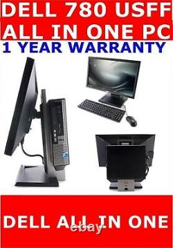 Dell 780 Usff All In One Computer Pc 22 Tft 250gb Hd 8gb Ram Windows 10 Wifi