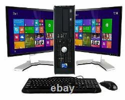 Dell Desktop PC Computer Dual Core 8GB RAM DUAL 19 LCDs 1TB WiFi Windows 10
