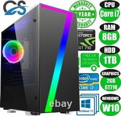 FAST Quad Core i7 Gaming PC 8GB RAM 1TB Nvidia GT710 Windows 10 Desktop Computer