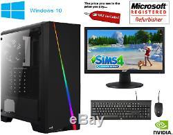 Fast Core 2 Duo Gaming PC Monitor Bundle 4GB RAM 500GB HDD W10 Computer