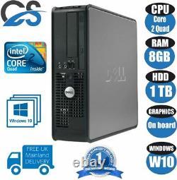 Fast Dell Optiplex Computer Desktop Tower Pc Intel Core 2 Quad 8gb Ram 1tb Hdd