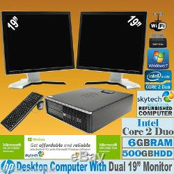 Fast Dual Screen Pc Computer Bundle Desktop Tower Windows 10 6gb Ram 500gb Hdd
