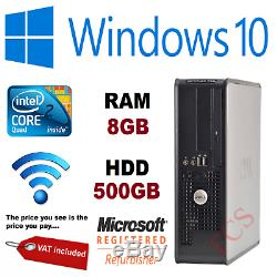 Fast Quad Core Pc Computer Desktop Tower Windows 10 Wi-fi 8gb Ram 500gb Hdd