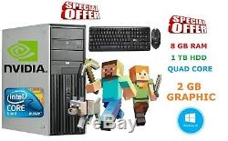 Fast Windows 10 Gaming Computer Pc Intel Quad Core 8gb Ram 1tb Hdd 2gb Gt710