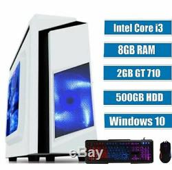 GAMING PC COMPUTER Intel i3 3.1 Ghz 500GB HDD 8GB RAM 2GB GT 710 Windows 10 WIFI