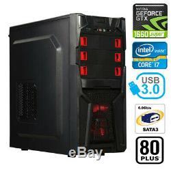 Gaming PC Desktop Computer Intel i7 GTX 1660 SUPER, 16GB RAM, 2TB HDD, 120GB SSD