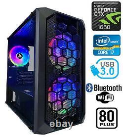 Gaming PC Desktop Computer RGB Intel i7 GTX 1660, 16GB RAM, 2TB HDD, 240GB SSD