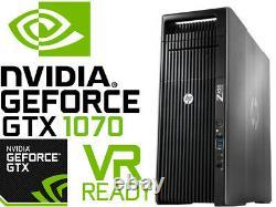 HP Z620 VR Ready Gaming Computer 2.9GHz 16 Cores Xeon GTX1070 96GB RAM 1TB SSD