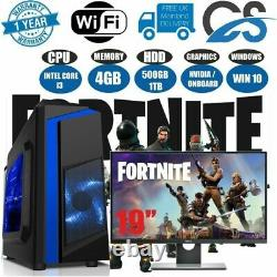 Intel Core i3 Low-end Gaming PC+Monitor Bundle 4GB RAM 500GB HDD W10 Computer